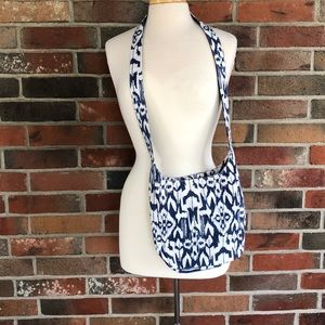Blue and white cross body satchel